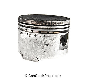 old piston isolated on white background closeup