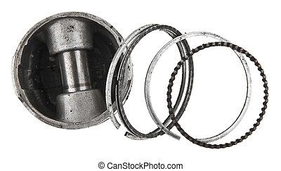 old piston isolated on white background closeup