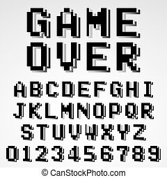 3d pixel alphabet font  80s arcade video game typescript  3d
