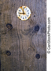 old plank background with ancient clock face
