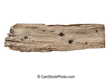 Old plank of wood isolated on white