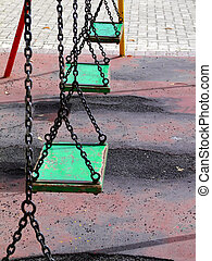 Old Playground Swingset - Vintage and old swingset at...