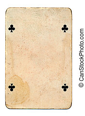 old playing card isolated on white