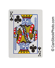 Old playing card (king) isolated on a white background