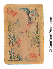 old playing card paper background with hearts symbols isolated on white