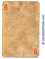 old playing card paper background with number 8