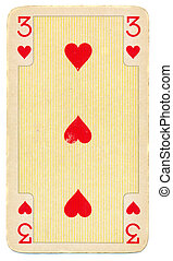 old playing card with three hearts