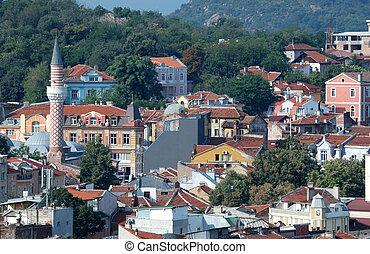 Old Plovdiv cityscape with timber roofs, Bulgaria
