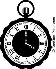 Old pocket clock vector icon