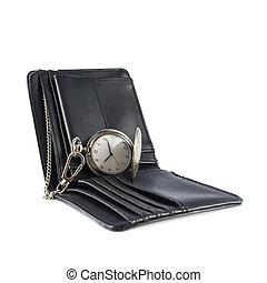 Old pocket watch in a wallet