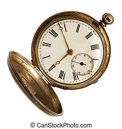 Old pocket watch, open, isolated on white background.