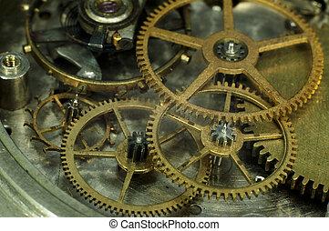 Old pocket watch mechanism close-up