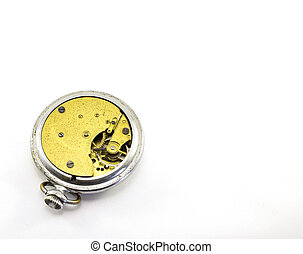 Old pocket watch mechanism on white background