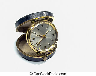 Old pocket watch, on a white background