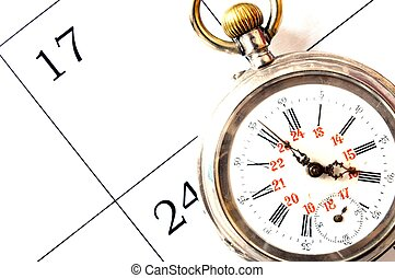 old pocket watch - view of an old silver pocket watch