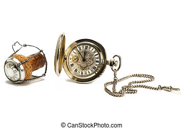 old pocket watch with a cork on white background