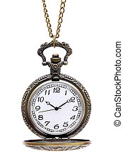 old pocket watch with chain isolated on white background
