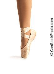 Old Pointe Ballet Shoe Closeup