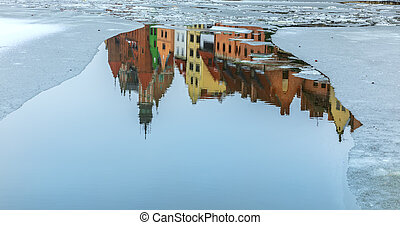 Old Poland buildings, reflection in the river Motlawa, Gdansk