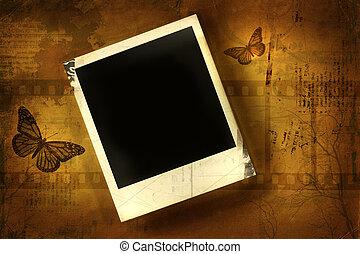 Old polaroid against grunge background