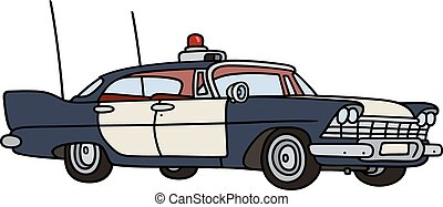 Old police car - Hand drawing of a classic big american...