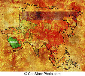 saudi arabia - old political map of asia with flag of saudi...