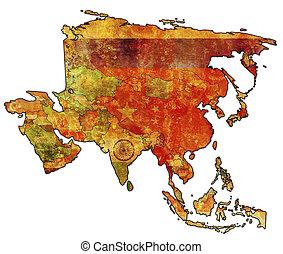 sri lanka - old political map of asia with flag of sri lanka