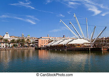 Old port in Genova - View of the Harbour in Genoa, Italy