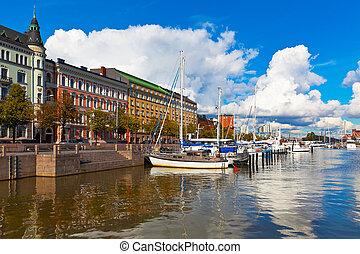Old port pier in Katajanokka district in Helsinki, Finland