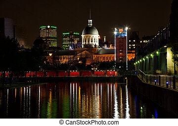 Old port in Montreal during the evening