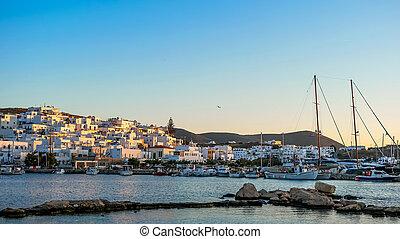 old port in Paros at sunset. Greece