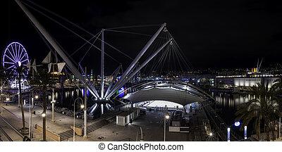 Old Port of Genoa seen at night Liguria