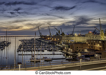 Old Port of Genoa seen at night