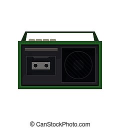 Old portable tape recorder with buttons and handle on top. Vintage green radio. Retro cassette player. Flat vector icon
