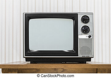 Old Portable Television on Wood Table