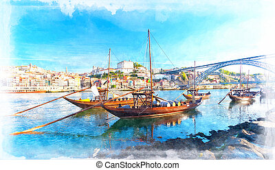 old Porto and traditional boats with wine barrels, Portugal....