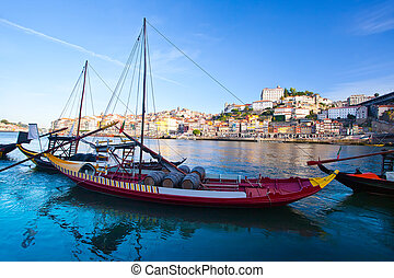 old Porto and traditional boats with wine barrels, Portugal...
