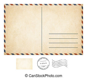 Old post card and stamp collection isolated