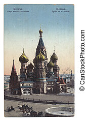 old post card with Moscow cathedral of Vasiliy Beatific