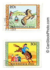 Old post stamps from Mongolia (Asia)