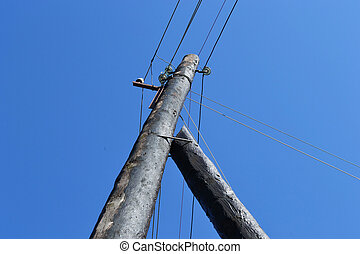Old post with electric wires