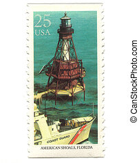 Old postage stamp from USA with Lighthouses
