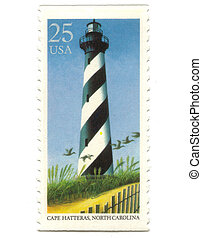 Old postage stamp from USA with Lighthouses - Cape Hatteras,...