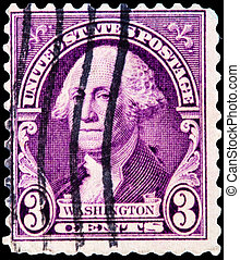 Old  postage stamp with Washington