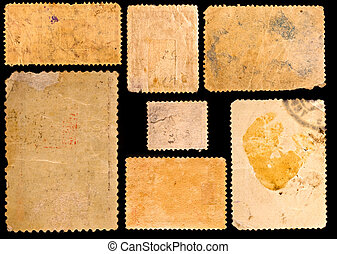 Old postage stamps border on black background