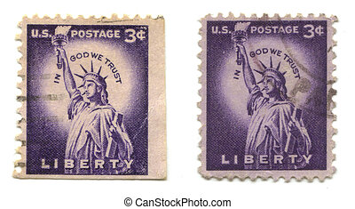 old postage stamps from USA Liberty