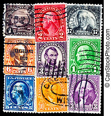 Old  postage stamps with US presidents