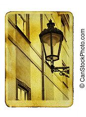 Prague's lantern - Old postcard (imitation) with Prague's ...