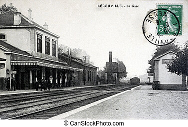 old postcard, Lerouville, the station...