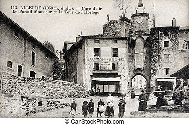 old postcard of Allegre, the clock tower